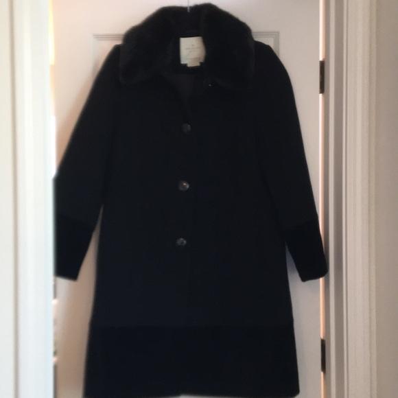 Kate Spade wool Faux Fur Vlvt trim coat
